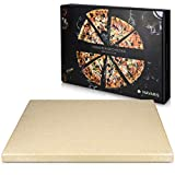 Navaris Piedra para pizza de cordierita - Piedra para horno rectangular para pizza o pan - Bandeja...