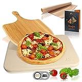 Amazy Piedra para Pizza (38 x 30 x 1,5 cm) + Pala de Bambú + Papel Horno Reutilizable +...